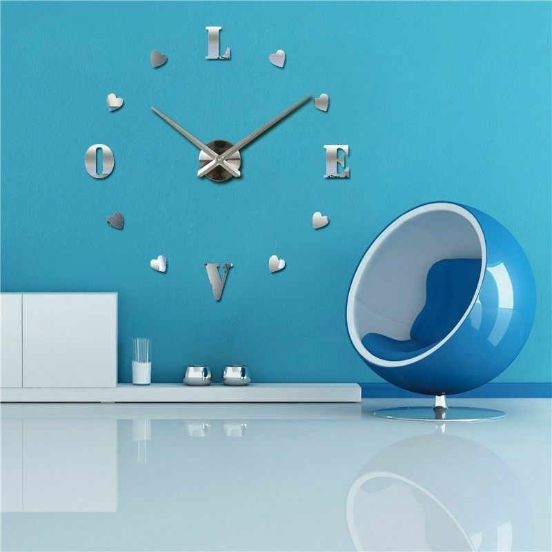 5d9f18392 Details about 3D DIY Large Wall Clock Home Decor Watches My Heart Love  Stickers Hours
