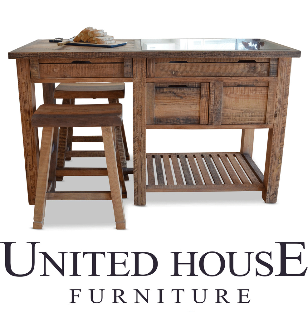 New Rustic Timber Kitchen Island Bench Granite Table Work ...