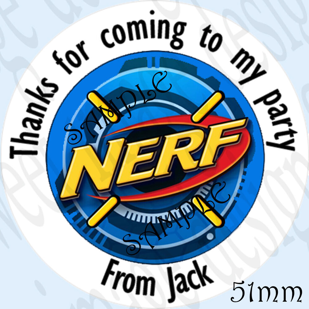 Large Personalised Nerf Inspired Birthday Labels Stickers