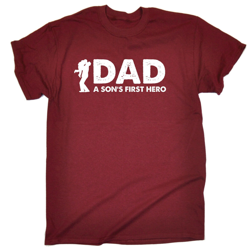 8aaf95fb Details about Dad A Son's First Hero MENS T-SHIRT birthday dad father  husband gift