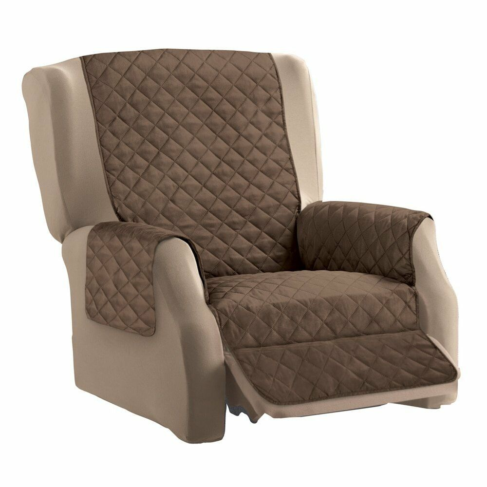 Protective Quilted Recliner Chair Furniture Cover Pockets
