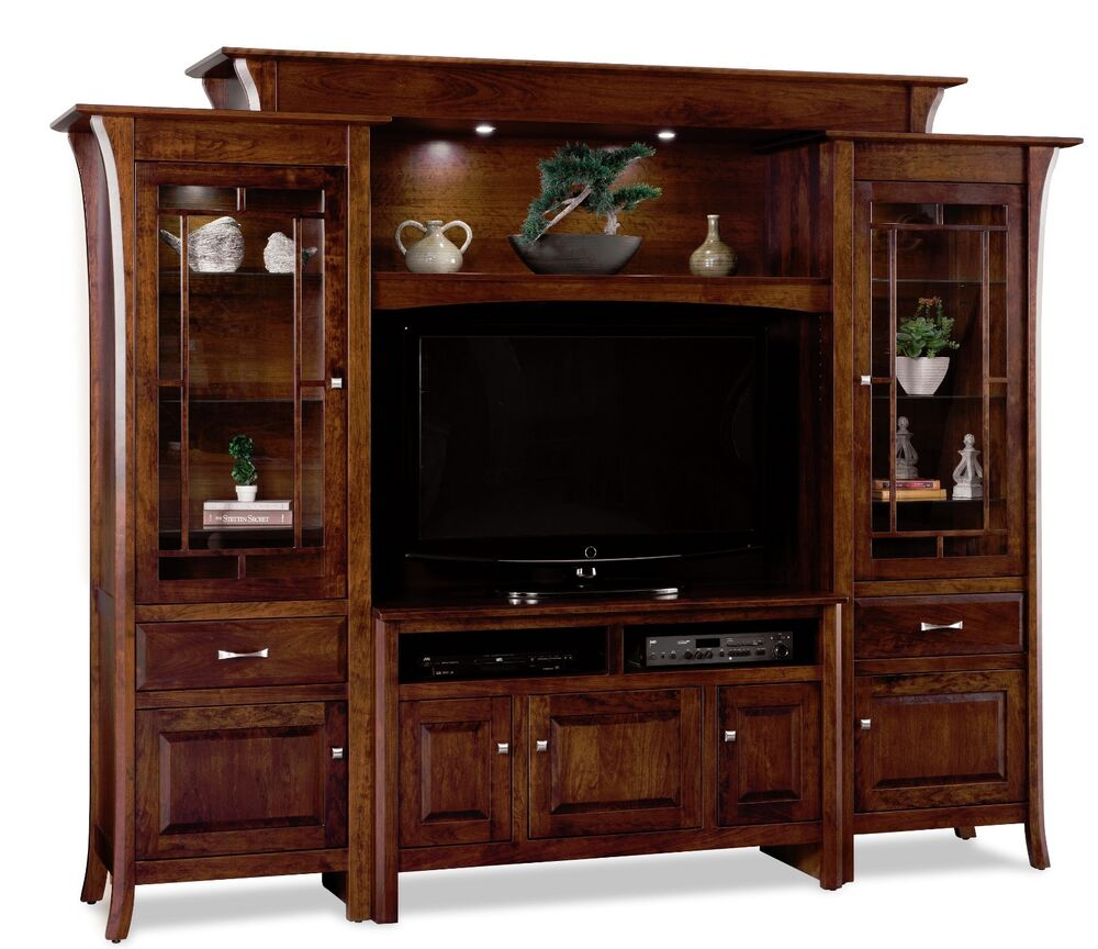 Amish Large Tv Entertainment Center Ensenada Solid Wood