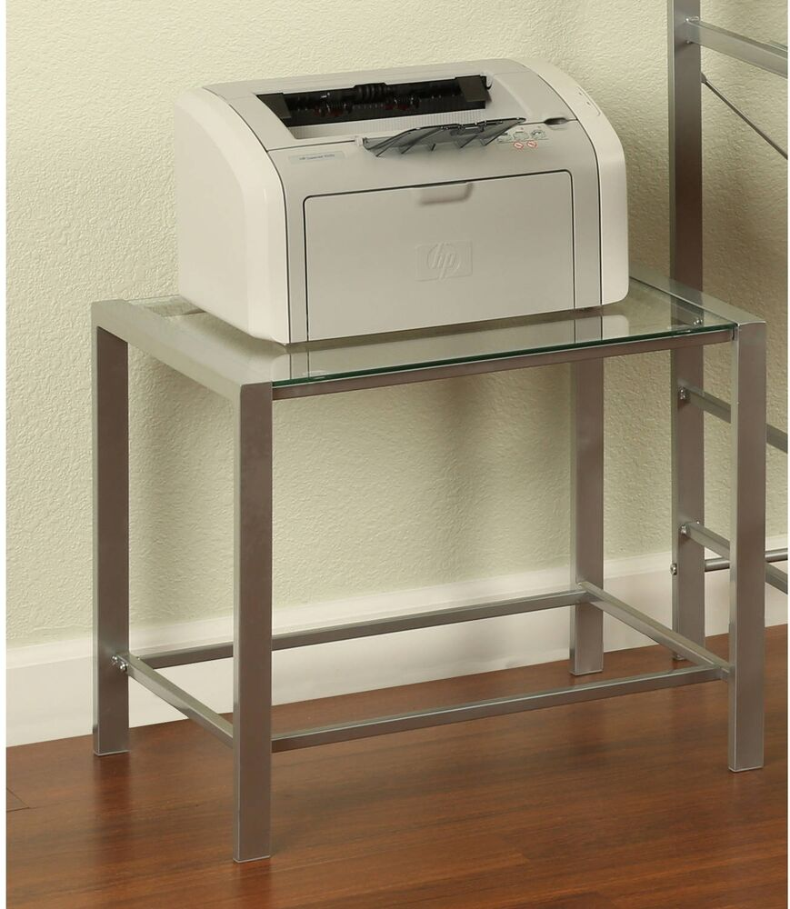 Modern Space Saver Tempered Glass Top Printer Home Office