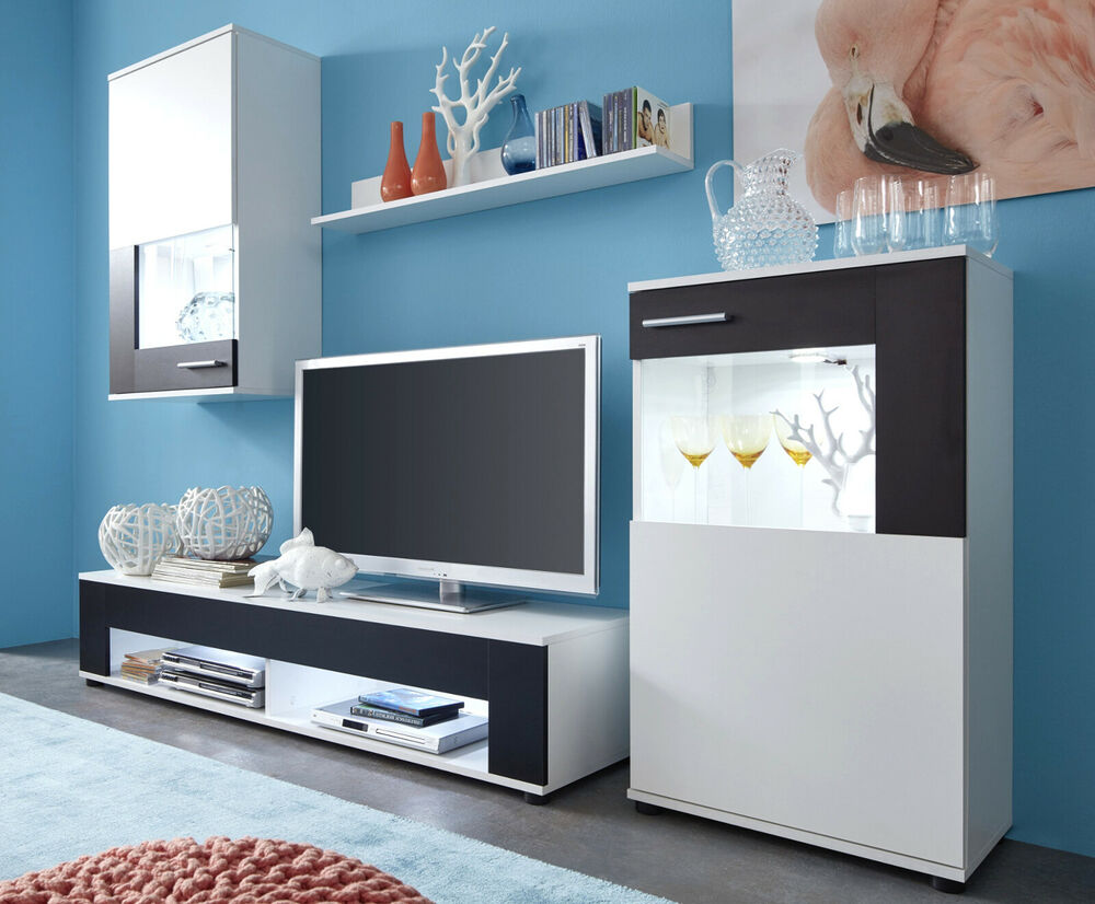 wohnwand wei schwarz wohnzimmer schrankwand fernseher medienwand anbauwand jack ebay. Black Bedroom Furniture Sets. Home Design Ideas