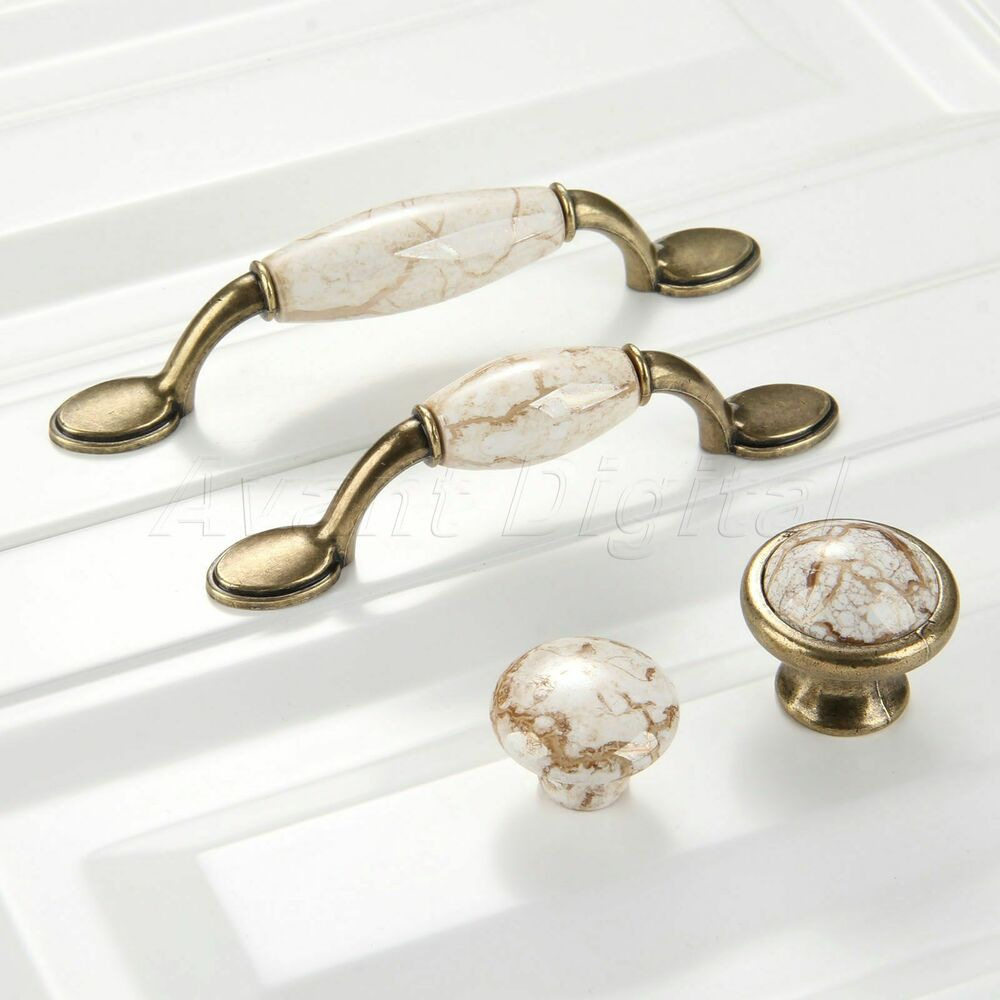 Ceramic Kitchen Cabinet Handles Drawer Pull Knobs Antique: Vintage Marble Porcelain Kitchen Cabinet Handles Antique