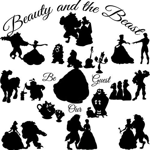 Beauty And The Beast Die Cut Outs Silhouette Shapes Set