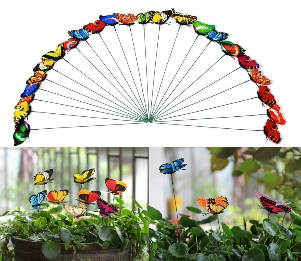 Set of 25 butterfly decorative garden decor stakes outdoor for Outdoor butterfly decor