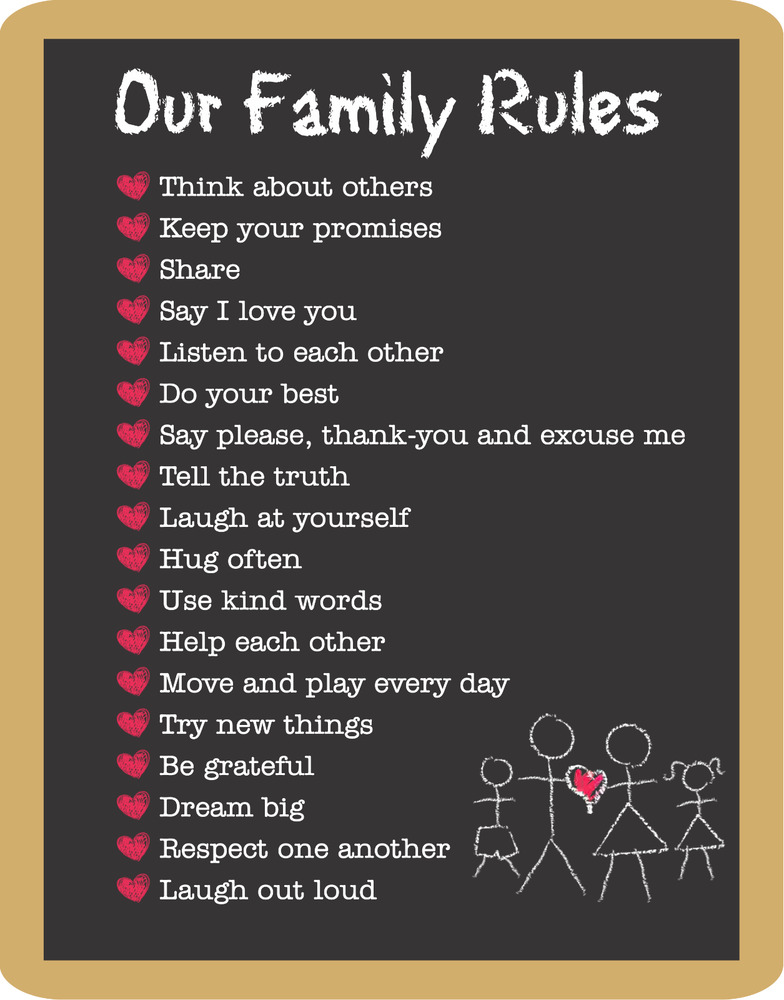 Family Rules Happiness Love Home Decor Wall High Quality