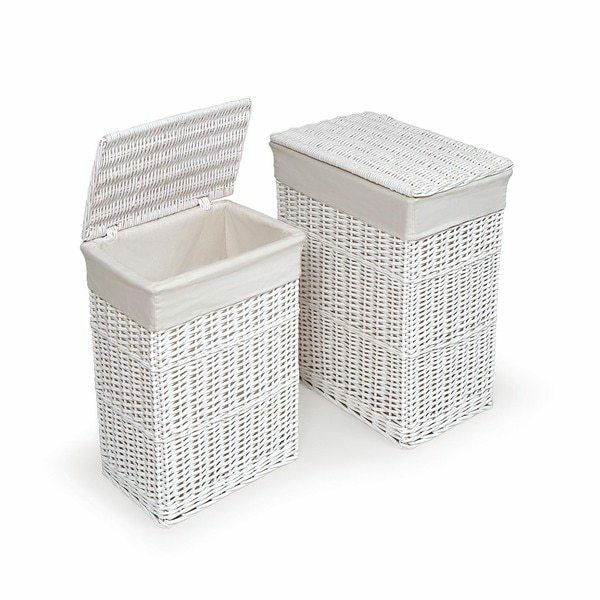 Details About White Laundry Hamper Clothes Basket Cotton Liners Set 2 Bin Storage Organizer