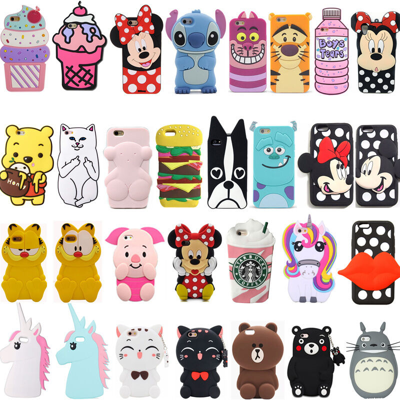 3d cute cartoon soft silicone rubber phone case cover back for 3d decoration for phone cases