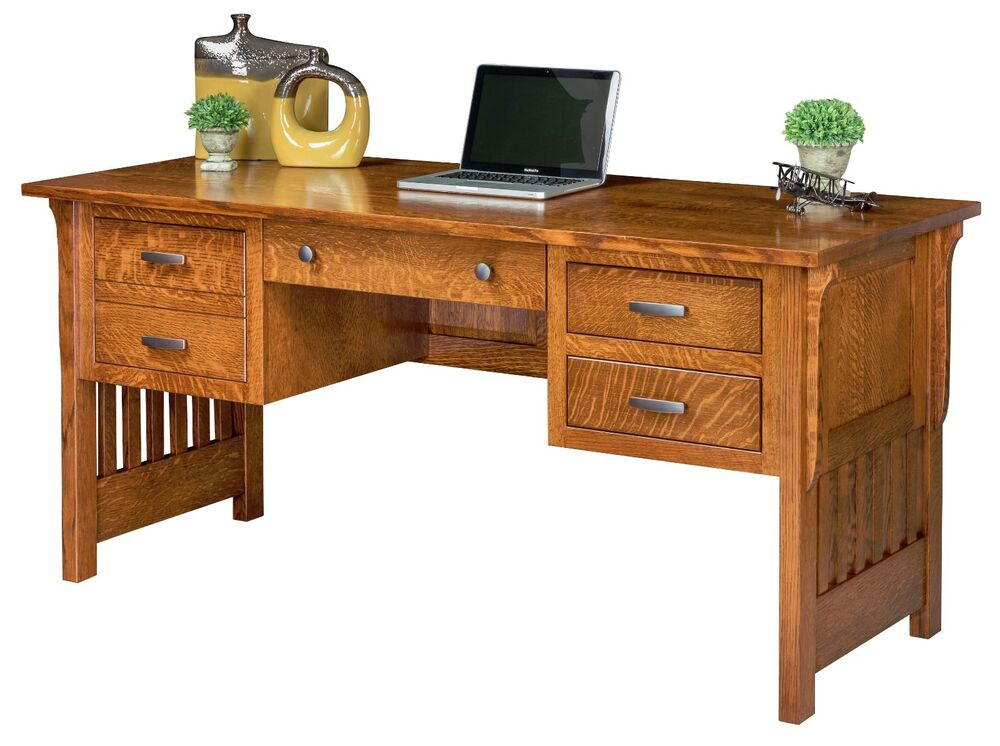 Amish computer desk mission arts crafts solid wood