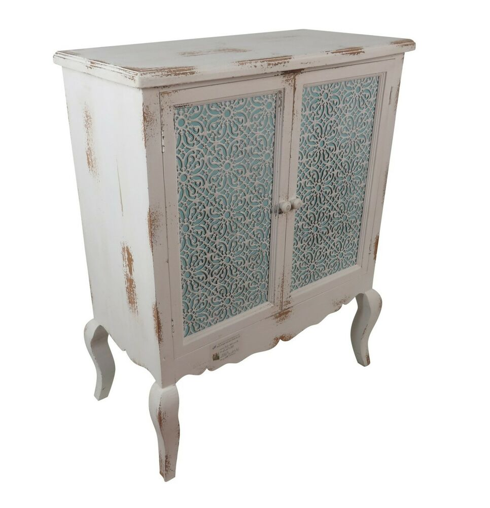 kommode schrank 2 t ren holz sideboard shabby orient 1001 nacht wei t rkis ebay. Black Bedroom Furniture Sets. Home Design Ideas