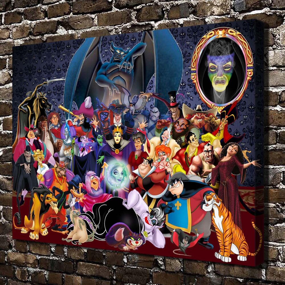 Disney villains paintings hd print on canvas home decor wall art picture posters ebay - Maison de mickey halloween ...