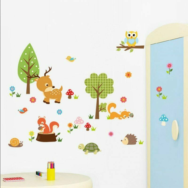s e premium wandtattoo zoo wandsticker dekorativ kinderzimmer baby tiere bunt ebay. Black Bedroom Furniture Sets. Home Design Ideas
