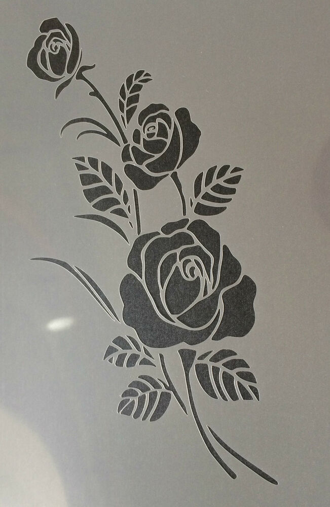 Rose Flower Floral A4 Mylar Reusable Stencil Airbrush