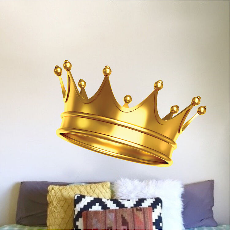 Gold Crown Wall Mural Decal Royal Jewelry Vinyl Removable King Queen ...