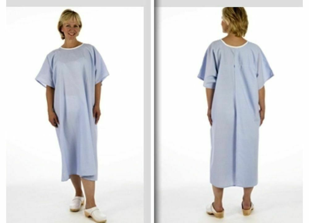 Pullover Blue Examination X-ray NHS hospital gown open back no ties ...