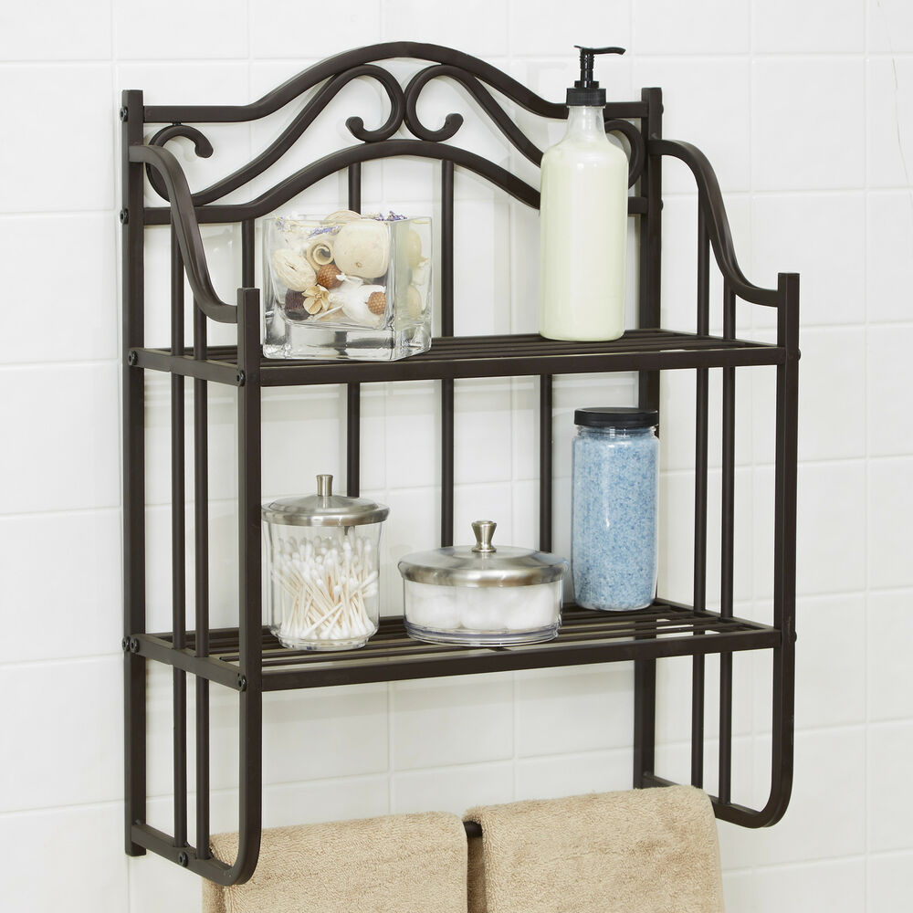 Vintage bathroom wall shelf antique storage metal shelves towel rack space saver ebay - Wall metal shelf ...