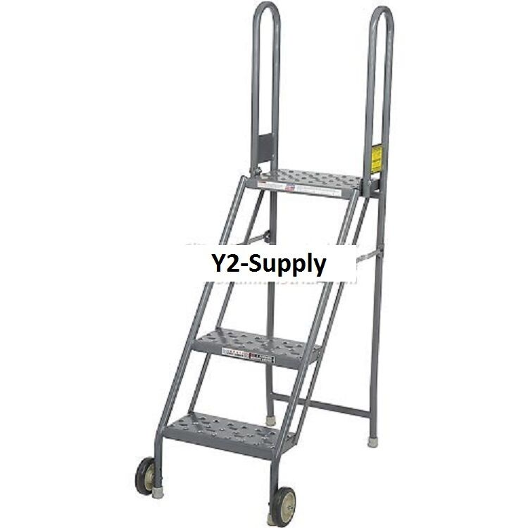 New 4 Step Folding Rolling Ladder Stand Perforated
