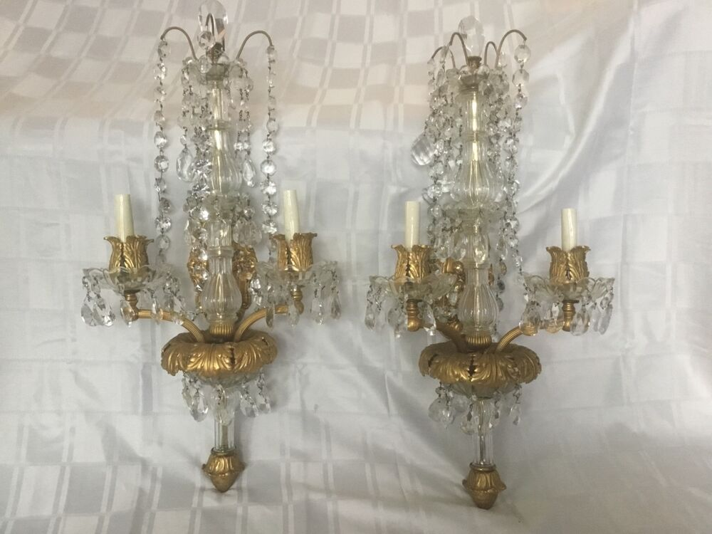 Jeweled Candle Wall Sconces : Antique Gilt Bronze Crystal Beaded French Chandelier Wall Sconces Pair 28