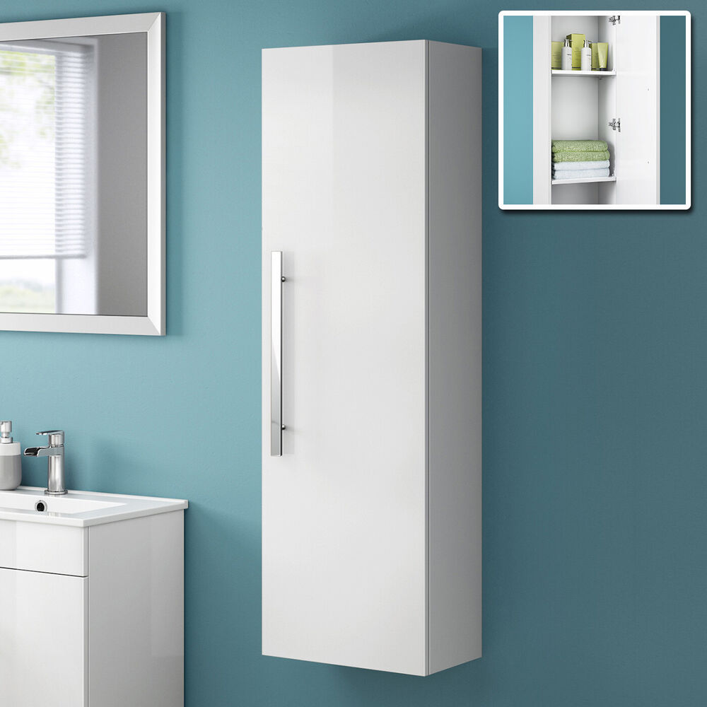 Tall white wall mounted bathroom furniture cabinet storage - White tall bathroom storage unit ...