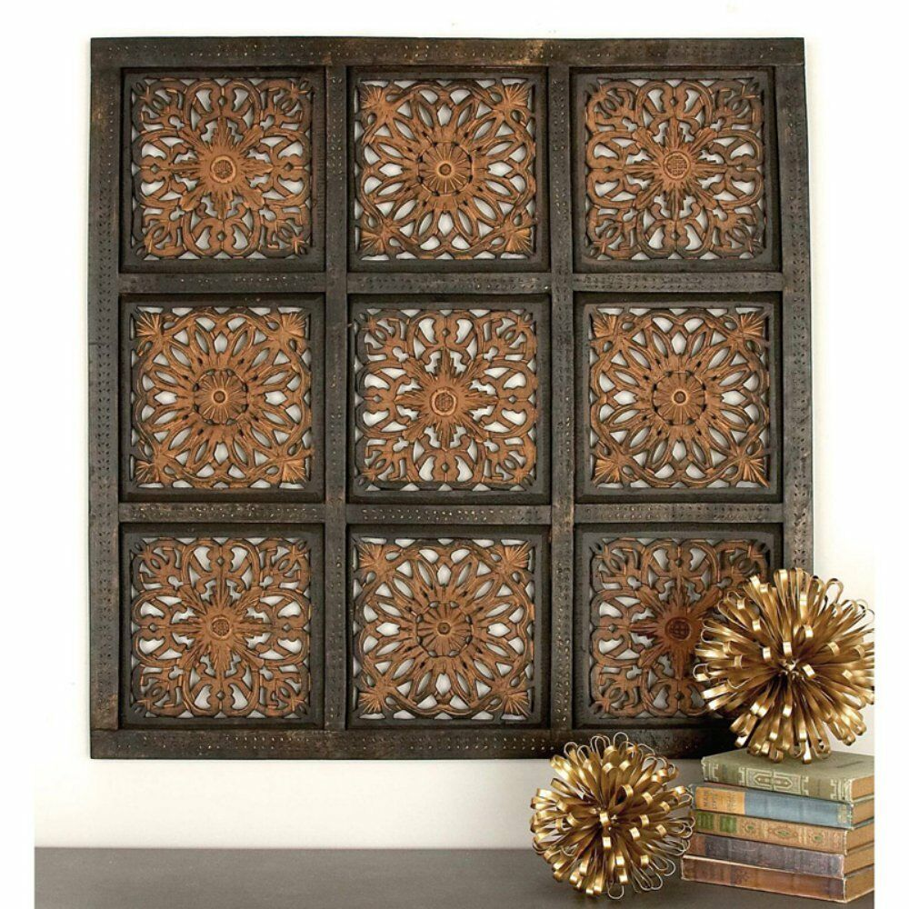 Distressed Rustic Indian Carved Wood Wall Panel Art