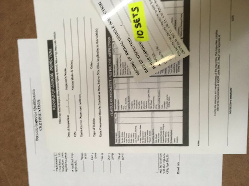 Dot Vehicle Inspection Forms Stickers 10 Sets W Inspector