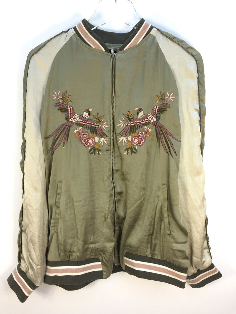 Zara woman bird embroidered dreamers bomber jacket olive
