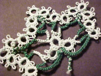 2 Tatted Leafs Green Mint Colors New for Magnet Scrapbooking Crazy Quilt Tatting