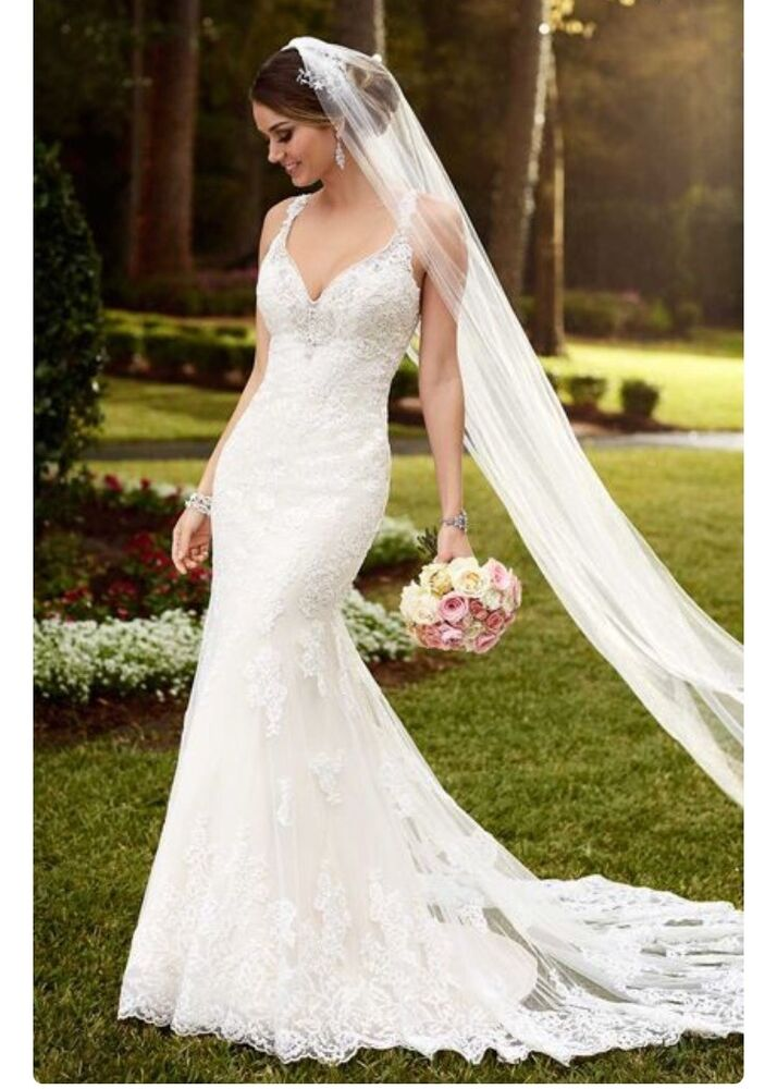 Lace wedding dress stella york champagne size 12 ebay for Where can i sell my wedding dress locally
