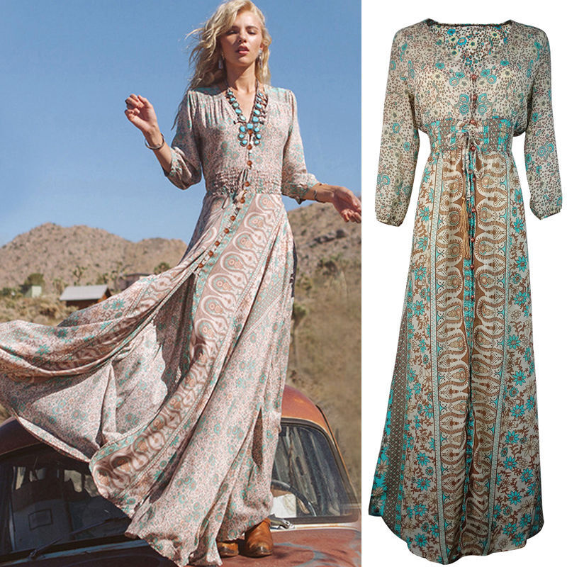 Fashion women chiffon summer boho long maxi evening party for Bohemian dresses for a wedding guest