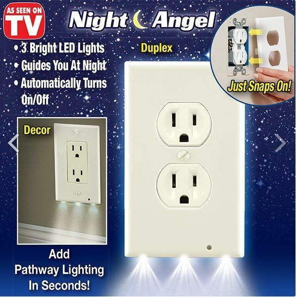 Night Angel Sensor As Seen On Tv Outlet Coverplate Plug Cover Light Led New Ebay