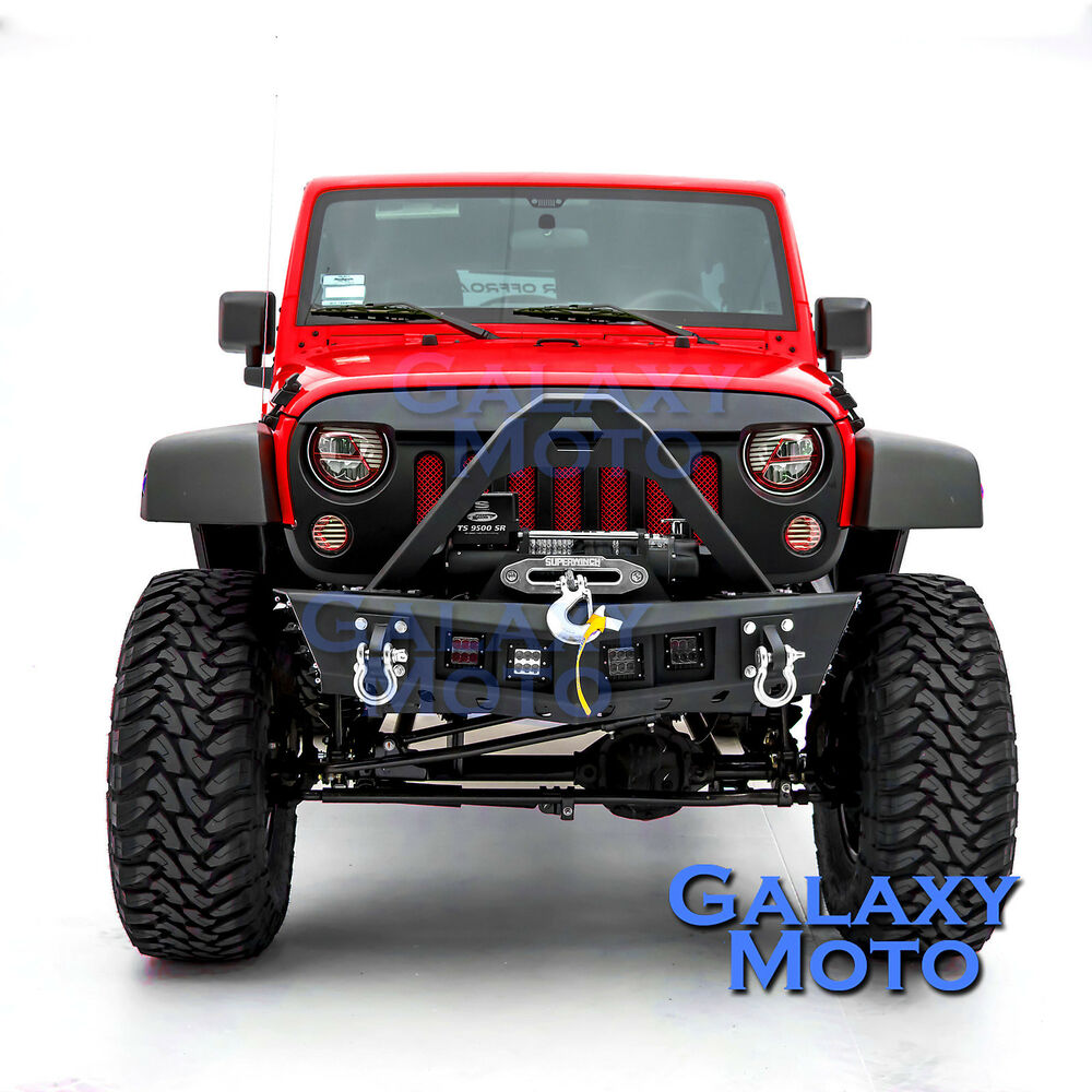 Falcon Stinger HD Front Bumper+4x LED Mount For 07-17 Jeep