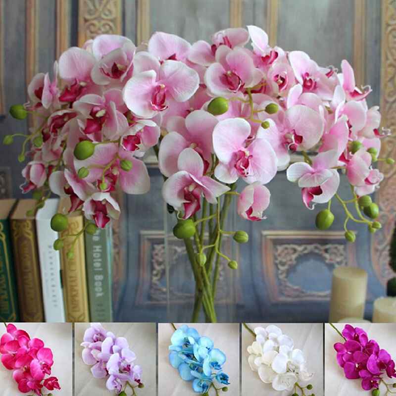 orchidee phalaenopsis k nstliche blumen kunstpflanze kunstblume blume deko blume ebay. Black Bedroom Furniture Sets. Home Design Ideas