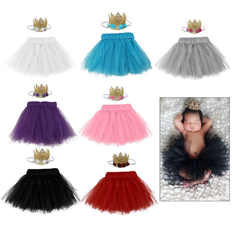 UK Newborn Baby Girls Tutu Skirt Crown Headband Photo Shoot Prop Outfit Set