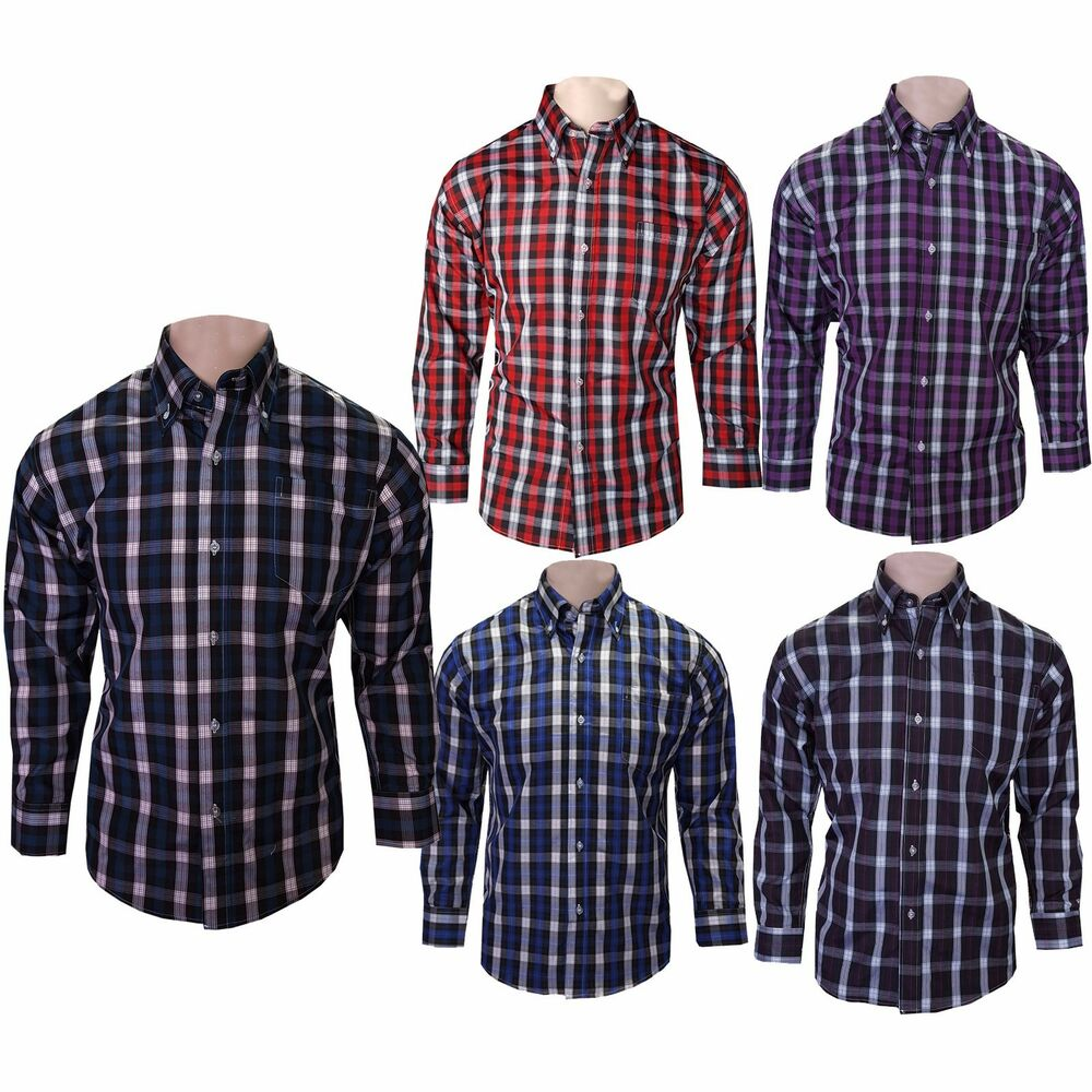 Mens Latest Fash Casual Cotton Shirts Long Sleeve Office Work Check
