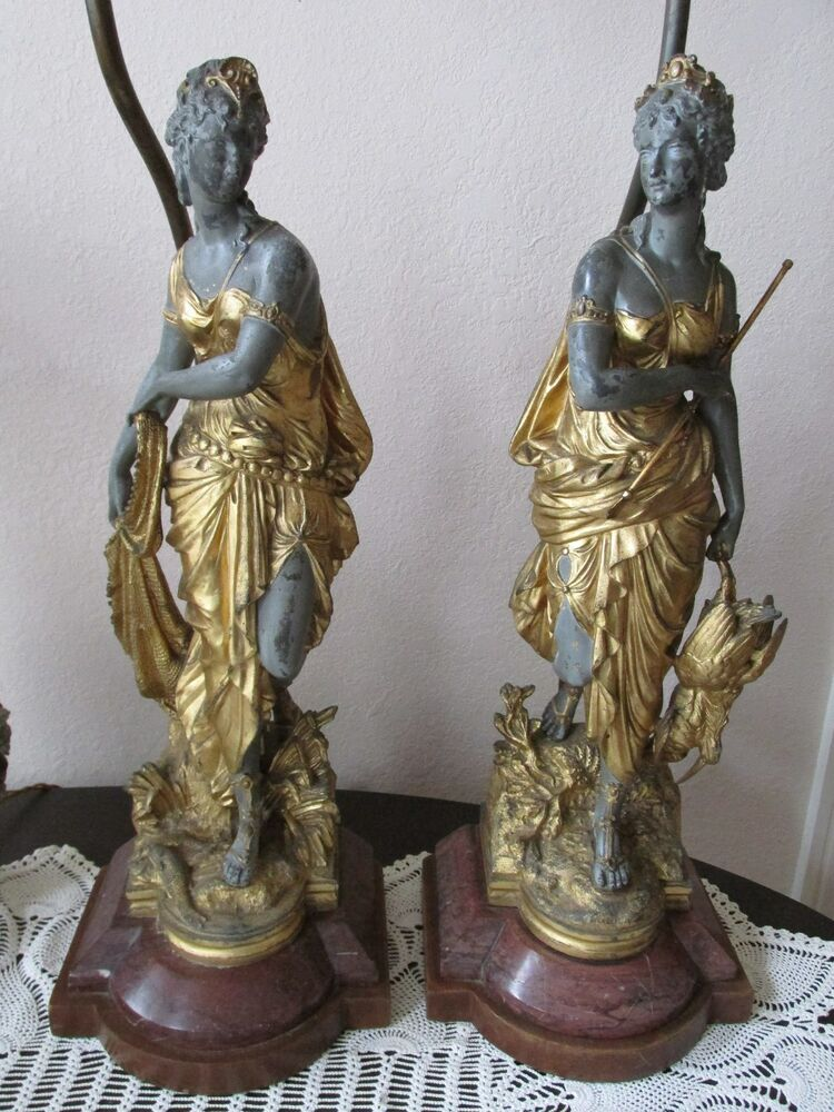 Antique French Figural Lamp Pair Neoclassical Gilt Spelter