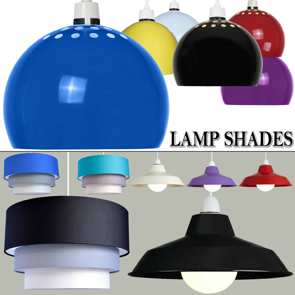 Ceiling Lamp Shade Materials: Modern Easy Fit 3 Tier Fabric Ceiling Pendant Drum Globe
