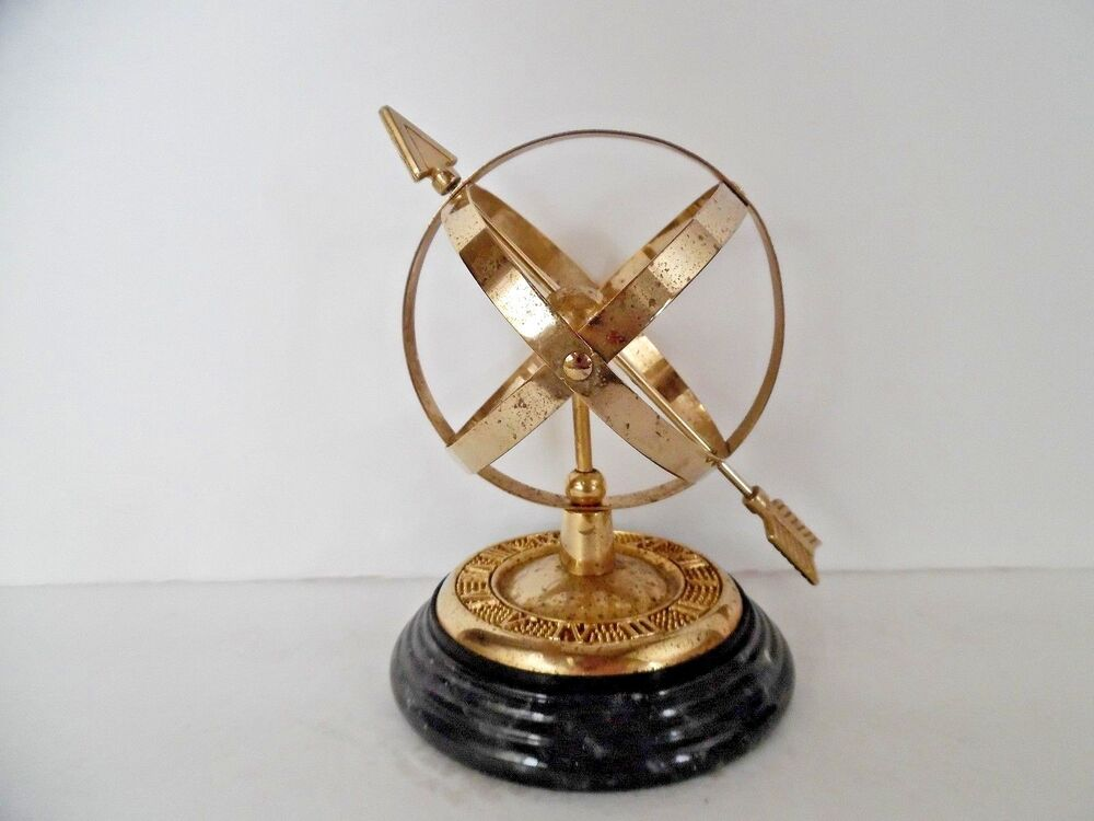 ... Armillary Sphere Globe Sundial Marble Base with Roman Numerals | eBay