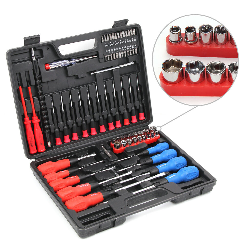 71 pcs magnetic tip cordless screwdriver precision bit set phillips flat torx ebay. Black Bedroom Furniture Sets. Home Design Ideas
