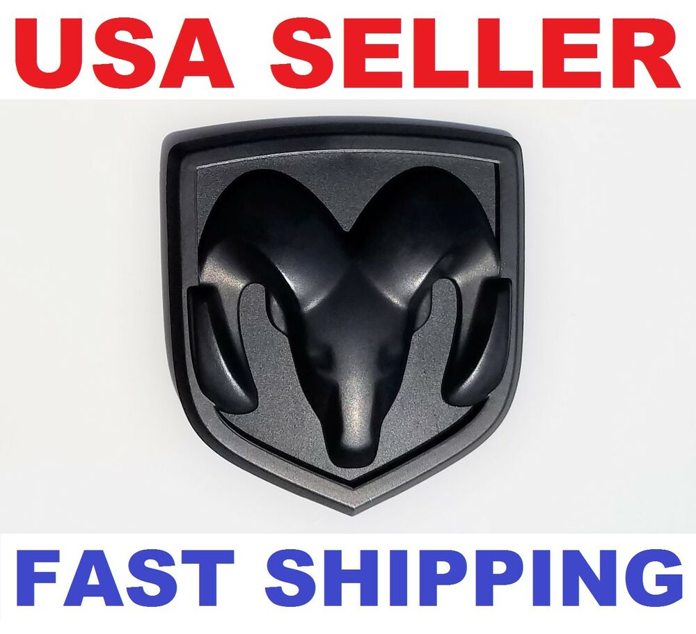 new 3d dodge ram head matte black emblem logo badge front. Black Bedroom Furniture Sets. Home Design Ideas