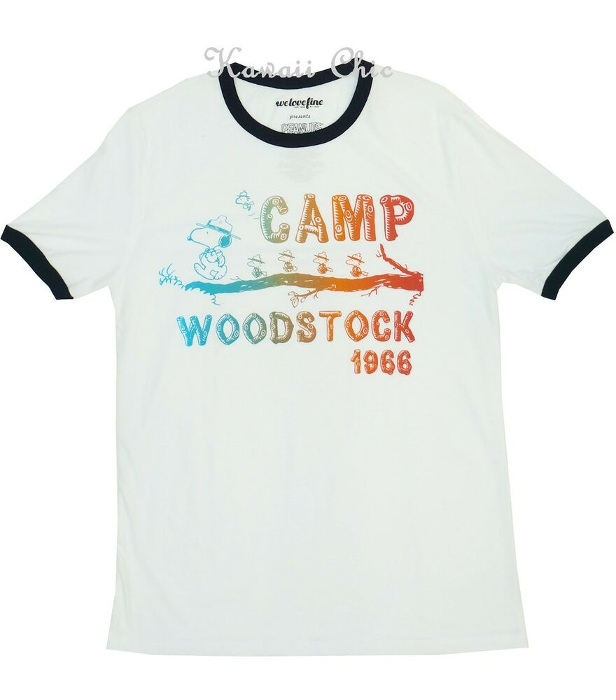 4b3f4a6d7f Details about Peanuts White Camp Woodstock Snoopy Dog Top Shirts Men s S