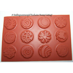 12pc set Round Unmounted 1'' Texture Rubber Stamps for Polymer, PMC, Paper, Clay