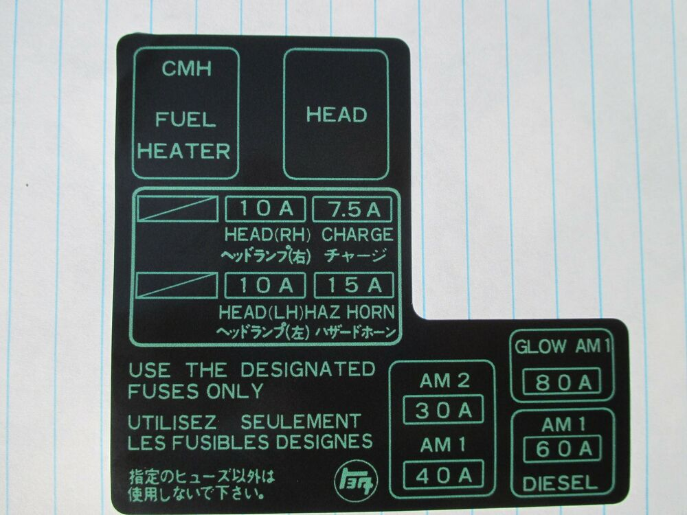 1984 1985 1986 1987 1988 toyota pickup new fuse box label ebay rh ebay com 1986 toyota pickup fuse box 1986 toyota pickup 22r fuse box diagram