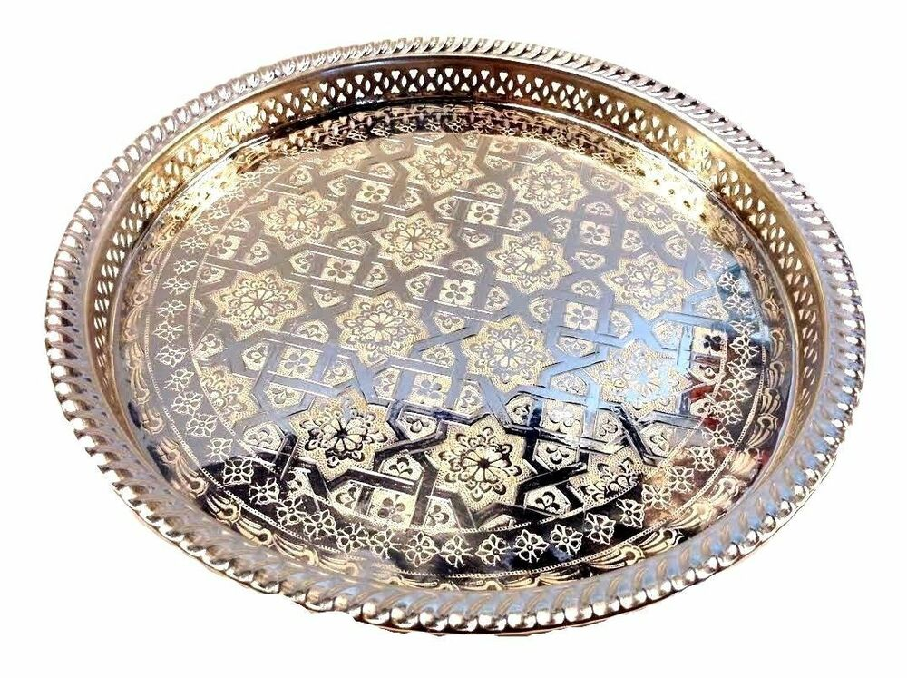 Moroccan Tea Silver Tray Engraved Arabic Pattern Design 14
