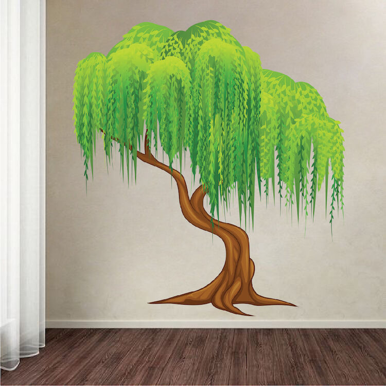Weeping Willow Tree Wall Decal Mural Plant Wall Vinyl