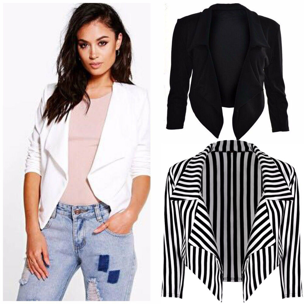 New Ladies Womens Cropped Style Waterfall Blazer Jacket Coat Top Plus Size 8-26