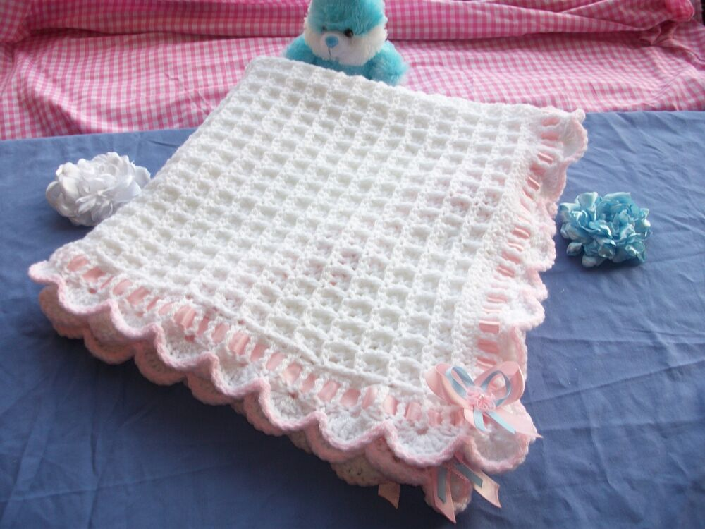Easy Knitting Patterns Uk : Baby blanket easy crochet pattern ristening shawl ebay