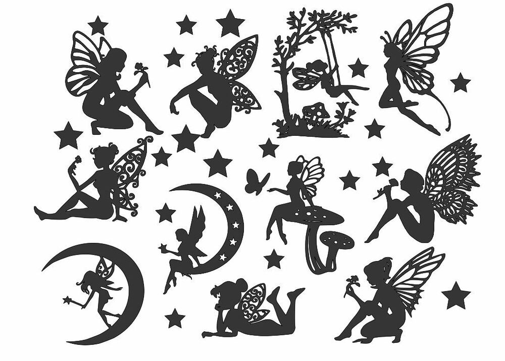 Fairy Die Cut Outs Silhouette Shapes X 11 Toppers Free