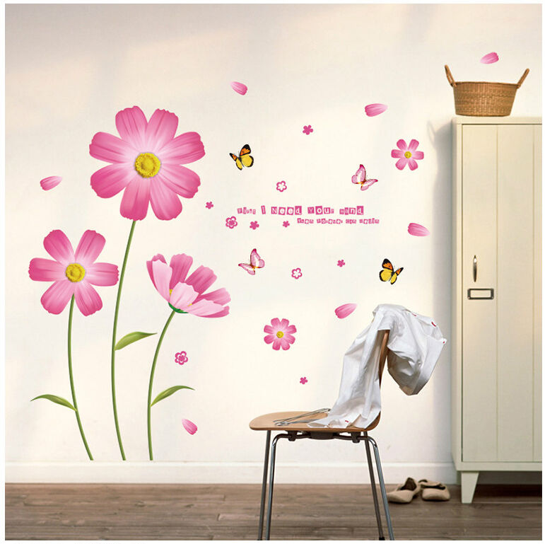 wandtattoo blume schmetterling pink rosa wandaufkleber wandsticker wohnzimmer ebay. Black Bedroom Furniture Sets. Home Design Ideas